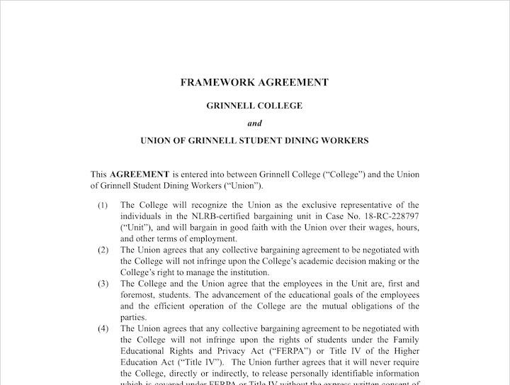 Screenshot of framework agreement
