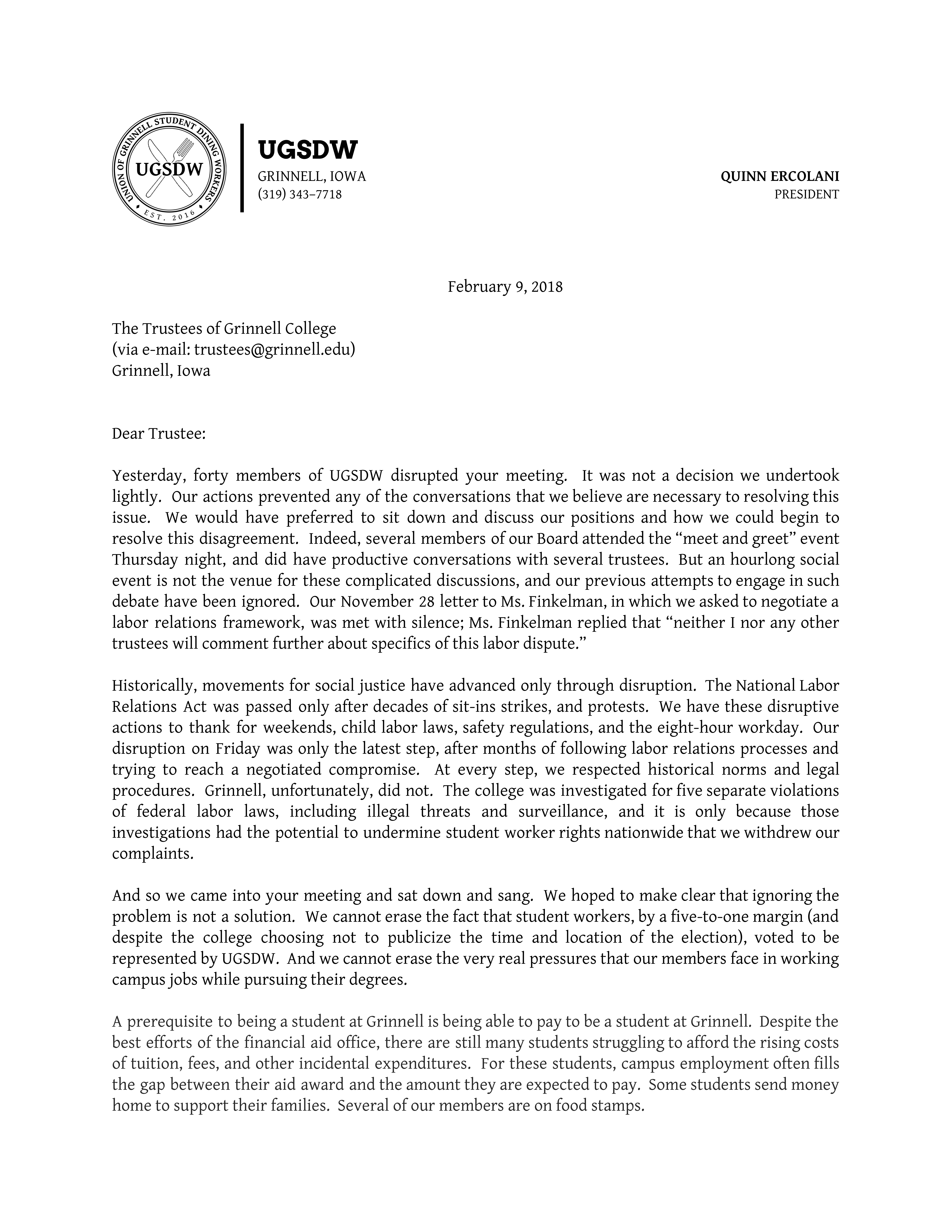 Letter sent to Grinnell's Board of Trustees